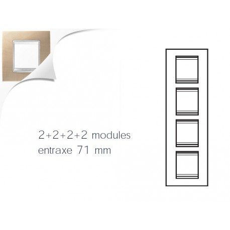 Plaque lux 8m 2+2+2+2 vertical erable Gewiss chorus