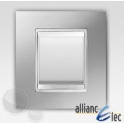 Interrupteur 2 modules lux titane sur blanc complet + support Gewiss Chorus