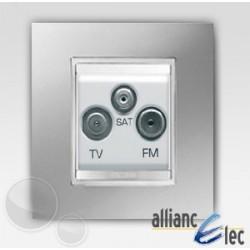 Prise tv+fm+sat 2m lux titane sur blanc complet + support Gewiss Chorus