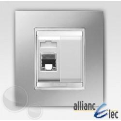 Connecteur rj45 2m cat 5 lux titane sur blanc complet + support Gewiss Chorus