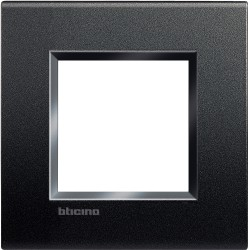plaque livinglight neutre 2 modules anthracite