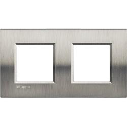 plaque livinglight naturalia 2 2 modules entraxe 71 mm acier brosse