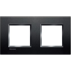 plaque livinglight neutre 2 2 modules entraxe 71 mm anthracite