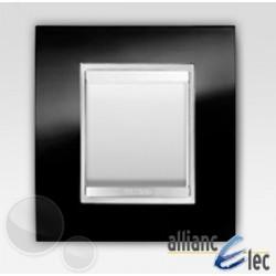 Interrupteur 2 modules lux ardoise sur blanc complet + support Gewiss Chorus