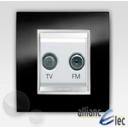 Prise tv+fm 2m lux ardoise sur blanc complet + support Gewiss Chorus