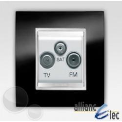 Prise tv+fm+sat 2m lux ardoise sur blanc complet + support Gewiss Chorus
