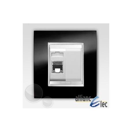 Connecteur rj45 2m cat 5 lux ardoise sur blanc complet + support Gewiss Chorus