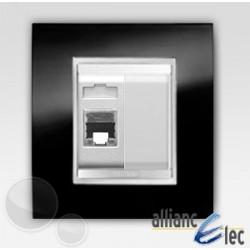 Connecteur rj45 2m cat 6 lux ardoise sur blanc complet + support Gewiss Chorus