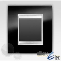 Interrupteur 2 modules lux ardoise sur noir complet + support Gewiss Chorus