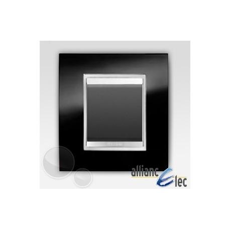 Bouton poussoir 2m lux ardoise sur noir complet + support Gewiss Chorus