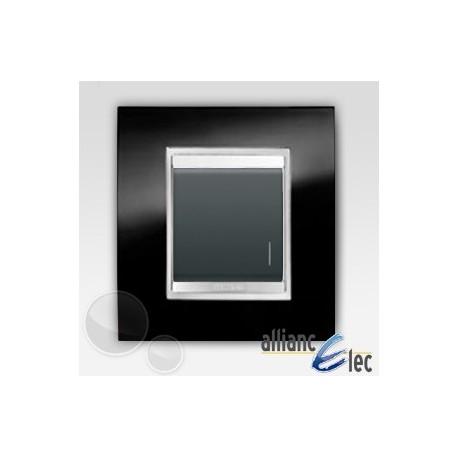 Bouton poussoir 2m lum lux ardoise sur noir complet + support Gewiss Chorus