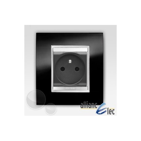 Prise 2m p+t câb.rapide lux ardoise sur noir complet + support Gewiss Chorus