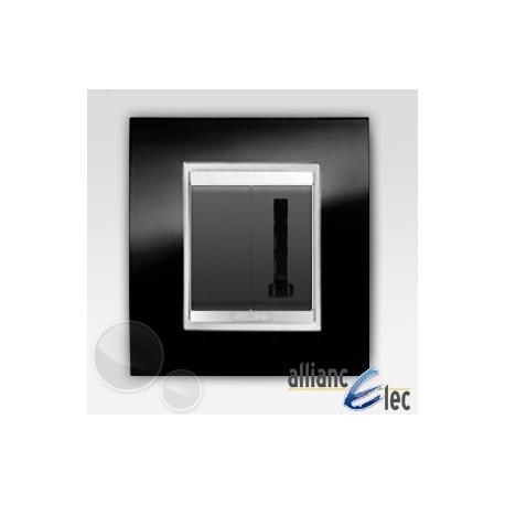 Prise telephone en T 1m lux ardoise sur noir complet + support Gewiss Chorus