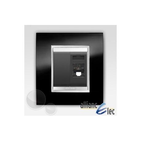 Connecteur rj45 2m cat 5 lux ardoise sur noir complet + support Gewiss Chorus