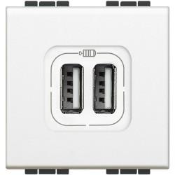 chargeur usb prise double livinglight 5 v 230 v blanc 2 modules