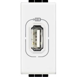chargeur usb prise simple livinglight 5 v 230 v blanc 1 module