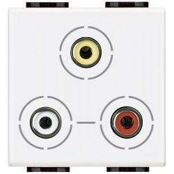 connecteur 3 x rca livinglight blanc 2 modules