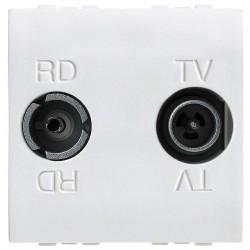 prise reseau cable aform type f etoile blindee blanc 2 modules
