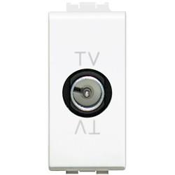prise tv simple etoile blindee livinglight blanc 1 module