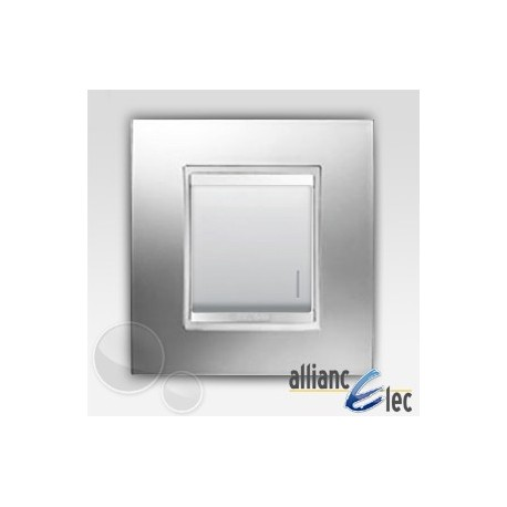 Interrupteur 2m lum localisation lux chrome sur blanc complet + support Gewiss Chorus