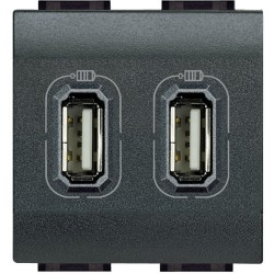 chargeur usb prise double livinglight 5 v 230 v anthracite 2 modules