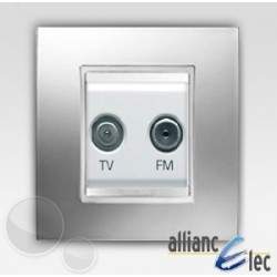Prise tv+fm 2m lux chrome sur blanc complet + support Gewiss Chorus