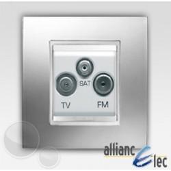 Prise tv+fm+sat 2m lux chrome sur blanc complet + support Gewiss Chorus