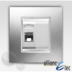 Connecteur rj45 2m cat 5 lux chrome sur blanc complet + support Gewiss Chorus