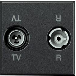 prise tv fm 2 modules axolute anthracite