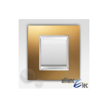 Interrupteur 2 modules lux or sur blanc complet + support Gewiss Chorus