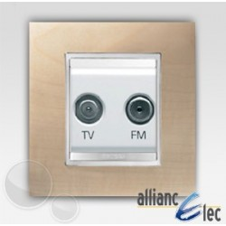 Prise tv+fm 2m lux erablessur blanc complet + support Gewiss Chorus