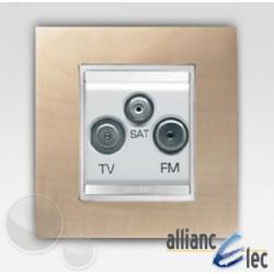 Prise tv+fm+sat 2m lux erablessur blanc complet + support Gewiss Chorus