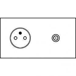 Art d'Arnould - Epure - Prise 2P+T + TV - Blanc satin