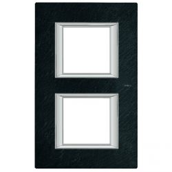 Plaque rectangulaire Axolute Pierre 2+2 mod. vertical - Ardoise