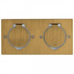 Platinum - Platine rectangulaire double poste à équiper - IP44/IK08 - bronze