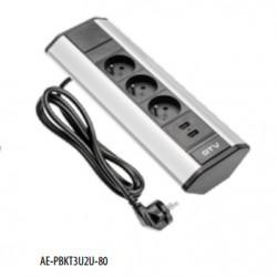 Bloc PRISE DE COIN 2 P+T X 3 230V, avec 2 prises USB