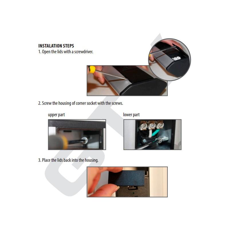 bloc 3 prises 2 usb pose en angle gtv pour plan de travail. Black Bedroom Furniture Sets. Home Design Ideas