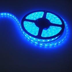 RUBAN LED SMD 3528, 5M, 120 LED/4,8W/ML - BLEU, IP 20, AVEC 2 CONNECTEURS MINI AMP PRECABLES