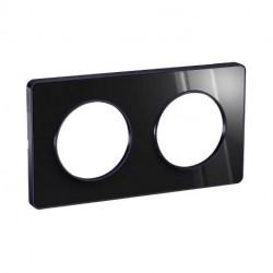 Plaque Odace Touch, Miroir brillant fumé avec liseré Anthracite 2postes entraxe 71mm Schneider