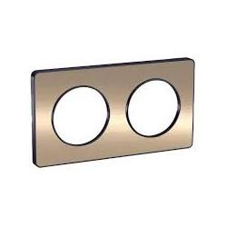 Plaque Odace Touch, Bronze brossé liseré Anthracite 2 postes horiz./vert. 71mm Schneider