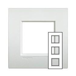 Plaque Livinglight Air Neutre 2+2+2 modules entraxe 71 mm - Perle blanche