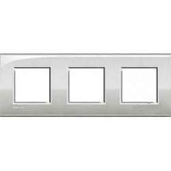 Plaque Livinglight Air Neutre 2+2+2 modules entraxe 71 mm - Argent lunaire