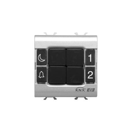 Clavier de commande 4 canaux Gewiss easy system domotique knx noir