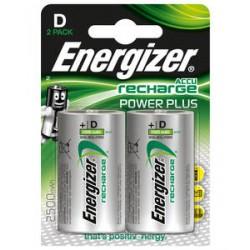 Piles rechargeables 2500mAh - HR20 ENEGIZER PowerPlus D - Lot de 2