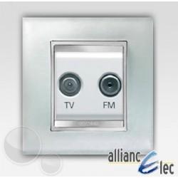 Prise tv+fm 2m lux glace sur blanc complet + support Gewiss Chorus