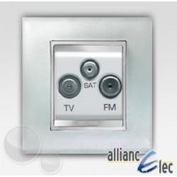 Prise tv+fm+sat 2m lux glace sur blanc complet + support Gewiss Chorus