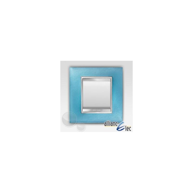 interrupteur 2 modules lux aigue marine sur blanc complet. Black Bedroom Furniture Sets. Home Design Ideas