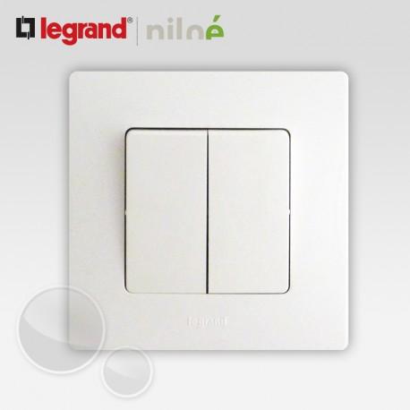bouton poussoir double legrand niloe pur blanc 664708 665001. Black Bedroom Furniture Sets. Home Design Ideas