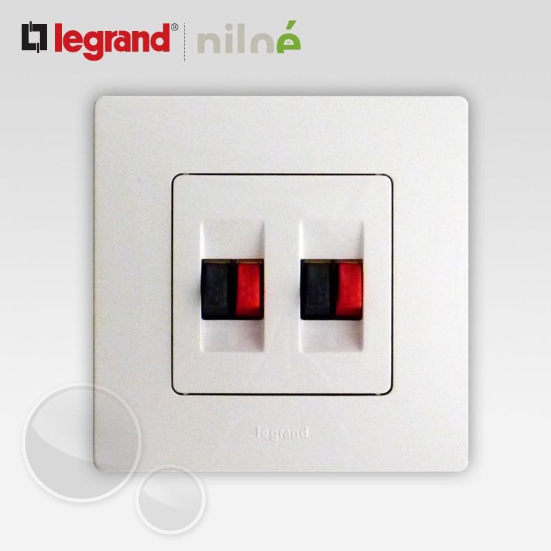 prise haut parleur double hp legrand niloe pur blanc 664781. Black Bedroom Furniture Sets. Home Design Ideas