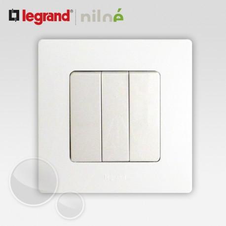 Interrupteur triple 3 touches complet Legrand Niloe Pur Blanc